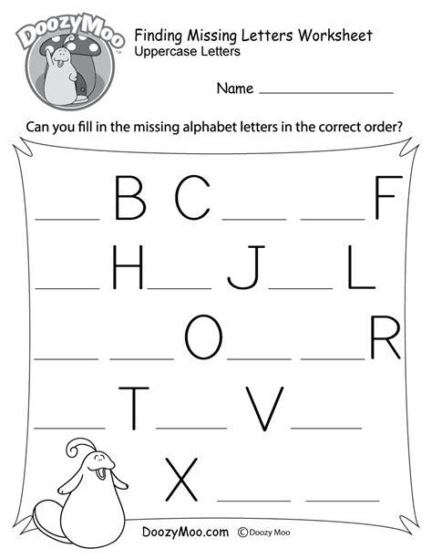 free kindergarten missing letter worksheets