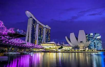 Singapur Singapore Night Wallpapers Lights Desktop Hotel