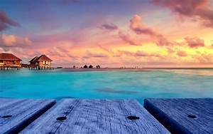 Tropical Beach Nature Sunset Landscape Bungalow