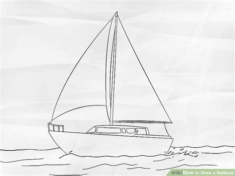 How To Draw A Boat Sailing by How To Draw A Sailboat 7 Steps With Pictures Wikihow