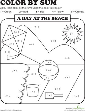 color by sum coloring pages grade addition color by number