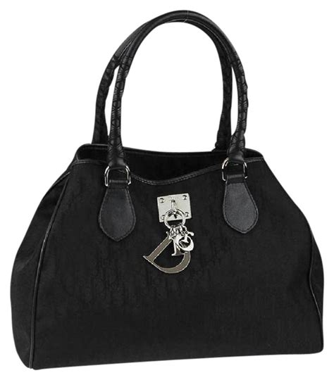 dior black canvas diorissimo small handbag tote monogram