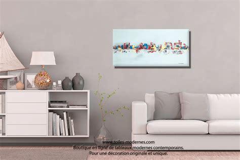 canape bois et chiffon tableau gris moderne ville format horizontal pièce unique