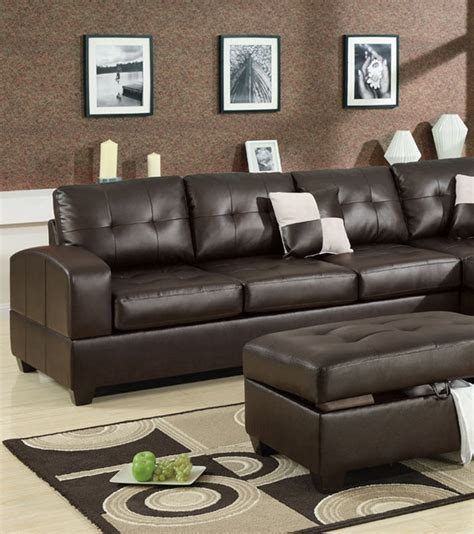 3pc sectional set espresso leather poundex hot sectionals