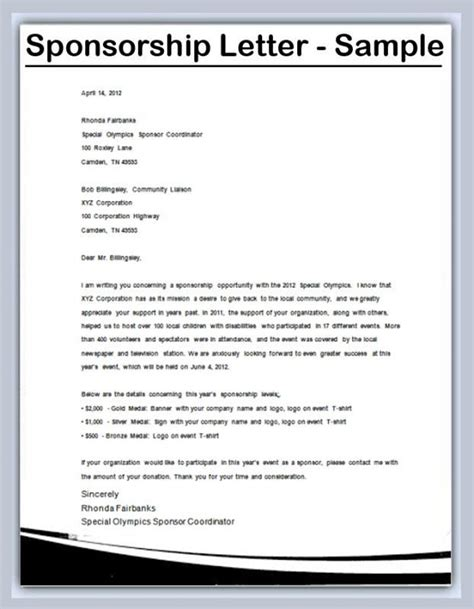 write  sponsorship letter template sponsorship