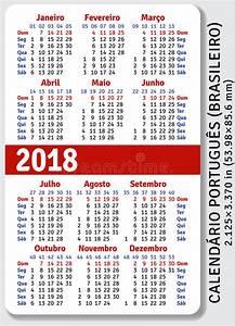 Calendário Brasileiro Português Do Bolso Para 2018