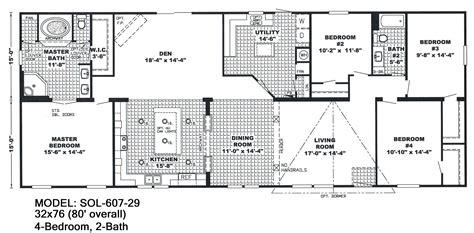 4 bedroom floor plans 2 4 bedroom 2 bath single wide mobile home floor plans