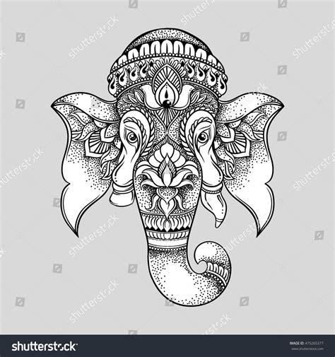 Hand Drawn Elephant Head Tribal Style Stock Vector