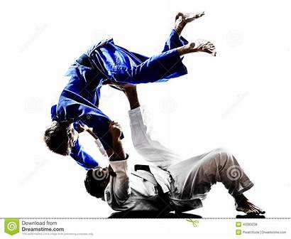 Silhouette Fighters Background Judo Fighting Judokas Silhouettes