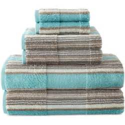jcpenney home 6 pc farmhouse stripe bath towel set blue