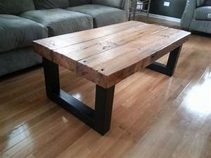 Coffee Tables Ideas: wood and rustic metal coffee table