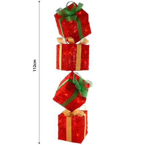 light up gift boxes red sparkly light up gift box tower standing christmas