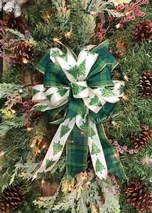 Green, Plaid, Bow, Rustic, Christmas, Decor, Rustic, Christmas