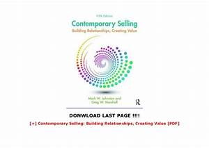 Contemporary Selling  Building Relationships  Creating
