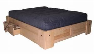 Lit Double Avec Tiroir : mfc base de lit plateforme en bois massif montreal quebec canada ~ Teatrodelosmanantiales.com Idées de Décoration