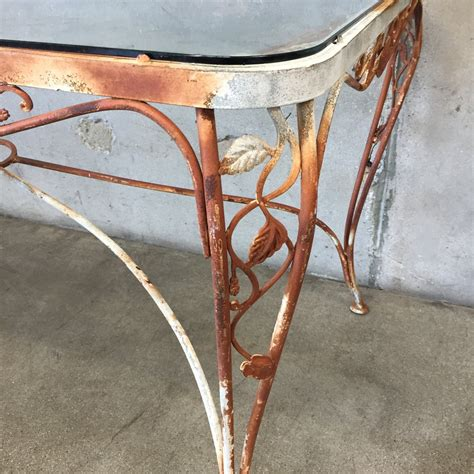 vintage iron patio table with tempered glass top