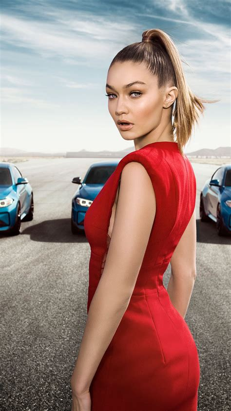 wallpaper bmw  coupe gigi hadid supermodel red dress