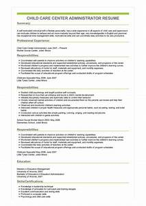 Child Care Resume Objective Sample Child Care Center Administrator Resume
