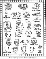 Coloring Breakfast Pages Printable Menu Items Books Foods Sheet Kid Easy Kitchen Recipes English Dover Groups Meals Cute Colorng Worksheet sketch template