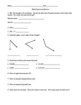 math review and practice for unit 6 everyday math grade 4
