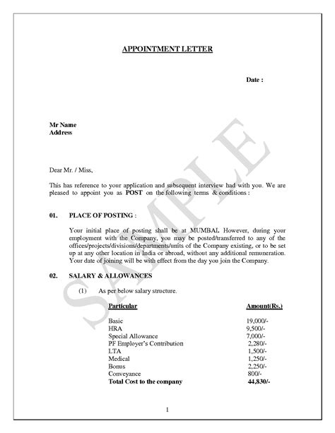 seeking appointment letter sample template format