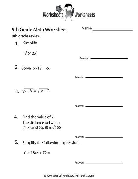 ninth grade math practice worksheet  printable