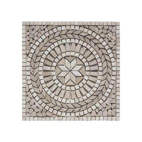 mosaic travertine tile shop floors 2000 medallions multi colored mosaic travertine floor tile common 24 in x 24 in
