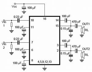 stereo audio amplifier using tea2025 chip embedded lab With lm4856 integrated audio amplifier circuit diagram datasheet and application