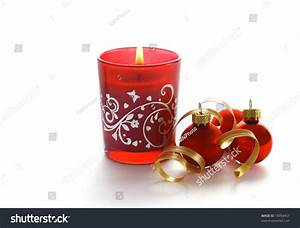 Red Christmas Candle On White Background Stock Photo ...