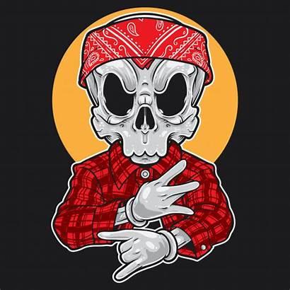 Gangsta Cartoon Skull Dibujos Calavera Gangster Blood
