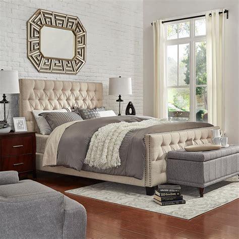 26474 beige tufted bed homesullivan lincoln park button tufted beige