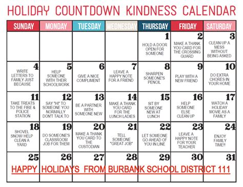 holiday countdown kindness calendar rosa maddock school