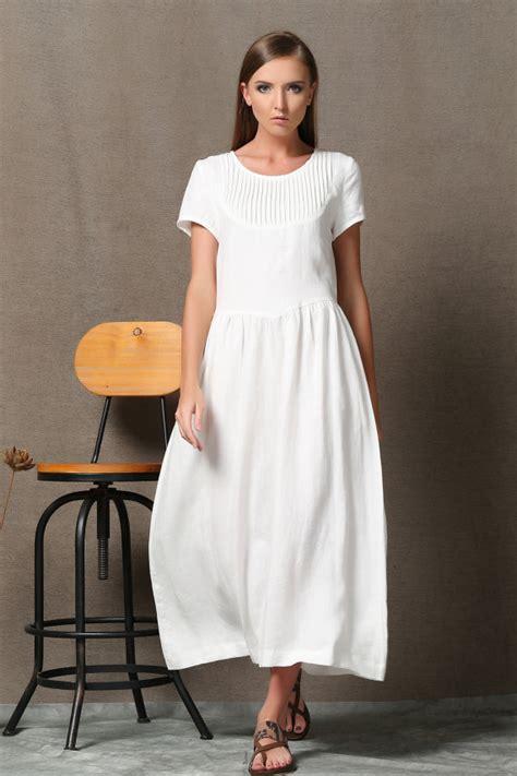 size dress linen dress maxi linen white dress woman