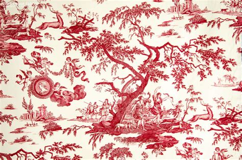 french red toile fabric neoclassic double wide