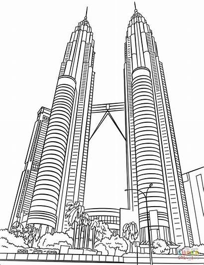Coloring Twin Towers Petronas Pages Drawing Printable