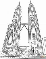 Towers Twin Petronas Coloring Pages Printable Malaysia Drawing Drawings Supercoloring Dot Paper London sketch template