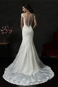mermaid illusion neckline sheer back cap sleeve tulle lace With lace sheer back wedding dress