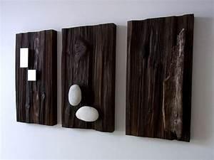 Holzbilder Mit Sprüchen : wand deko holzbilder mit aufgesetztem eisen holz stein ein designerst ck von bk s kleine ~ Whattoseeinmadrid.com Haus und Dekorationen