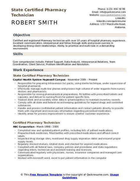 Pharmacy Technician Resume Skills by Certified Pharmacy Technician Resume Sles Qwikresume