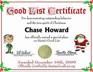 good list certificate free printables pinterest nice With santa letter and certificate