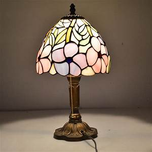 8 inch flesh country flowers tiffany table lamp country for Taliesin 1 table lamp