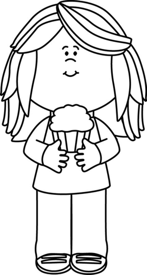black white girl holding  cupcake clip art black