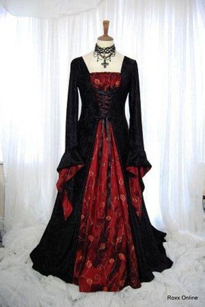 black and velvet red taffeta medieval gothic wedding dress