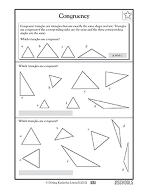 3rd Grade, 4th Grade Math Worksheets Congruent Triangles Greatschools