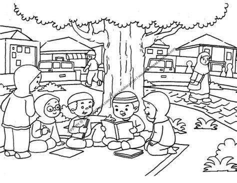 gambar mewarnai anak anak sedang belajar kelompok di taman