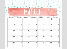 Printable Calendar March 2018 Cute Free Calendar and