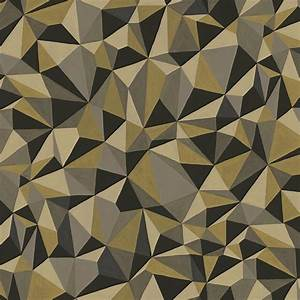 Papier Peint Noir Et Doré : papier peint quartz art g om trique noir dor et gris ~ Melissatoandfro.com Idées de Décoration