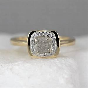 14k yellow gold raw diamond halo ring rough diamond With conflict free wedding rings