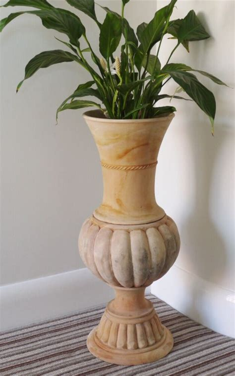Large Wood Floor Vase by Large Solid Mahogany Wood Traditional Urn