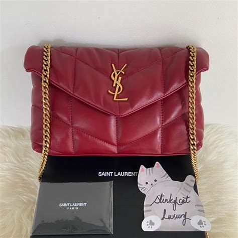 saint laurent monogram loulou ysl puffer toy  quilted red rouge opium lambskin leather